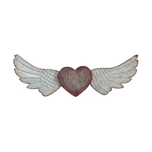 【Creative Co-Op Home】ウォールデコ Heart & Wings,Wood & Metal Heart & Wings Wall Decor