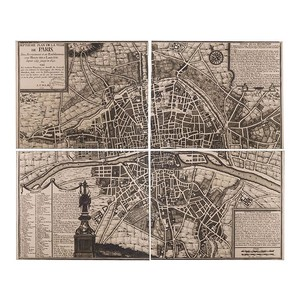【Creative Co-Op Home】ウォールアート パリ,Wood Vintage Paris Map Set of 4