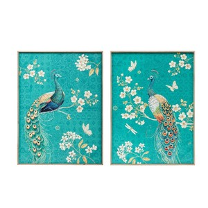 【Creative Co-Op Home】ウォールフレームアート Peacock,Fir Framed Canvas Wall Art