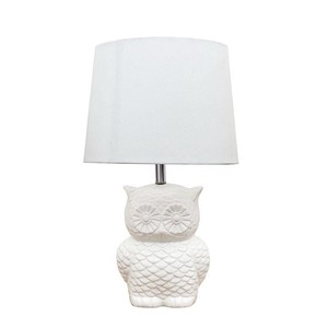 【Creative Co-Op Home】テーブルランプ オウル,Stoneware Owl Table Lamp w/ Linen Shade