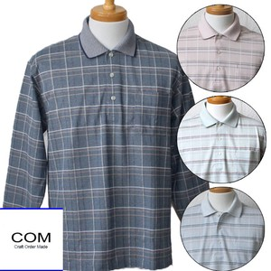 Men's Long Sleeve Polo Shirt S/S Checkered Pattern Border Long Sleeve Polo Shirt 4 Colors