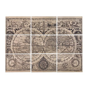 【Creative Co-Op Home】ウォールアート ワールドマップ,Wood Vintage World Map Set of 9