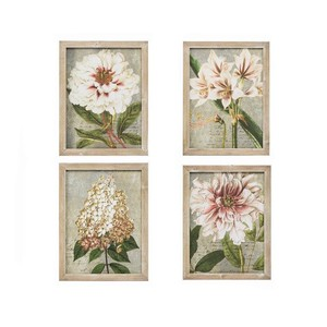 【Creative Co-Op Home】ウォールフレームアート,Suzanne Fir Framed Wall Art w/ Floral Pattern 4 Styles