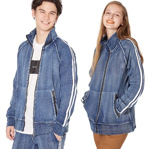 S/S Men's 2 Pcs Line Cut Denim Fleece Track Jacket Sweat