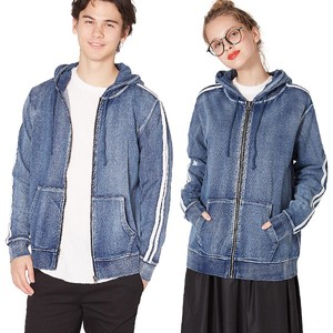 S/S Men's 2 Pcs Line Cut Denim Fleece Hoody Sweat