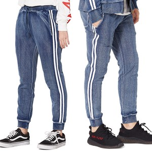 S/S Men's 2 Pcs Line Cut Denim Fleece Pants Sweat