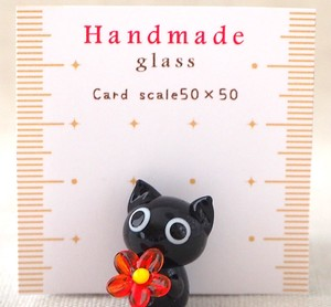 Glass Flower Black cat