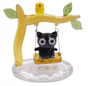 """Glass Figurine Object"" Swing cat"
