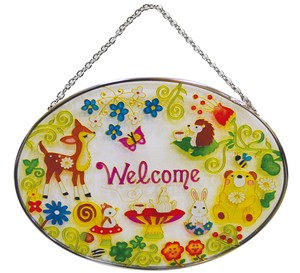 Glass Sten Frame Animal Welcome Oval