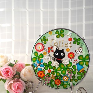 Glass Sten Frame Cat Clover Toilet
