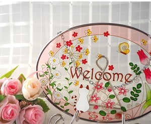 Glass Sten Frame cat Welcome Oval