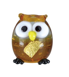 Glass Gold Leaf Owl