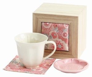 Porcelain Gift With Lid Mug Crape Wooden Box