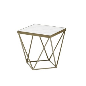 【Creative Co-Op Home】サイドテーブル,Metal & Marble Side Table Gold