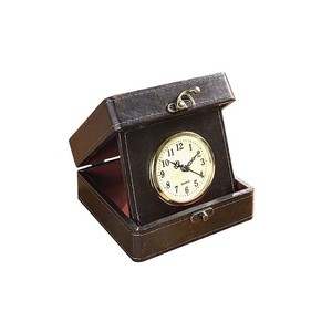 【Creative Co-Op Home】トラベルクロック,Faux Leather Travel Clock In Box