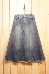 Carry S/S Denim Embroidery Design Long Skirt