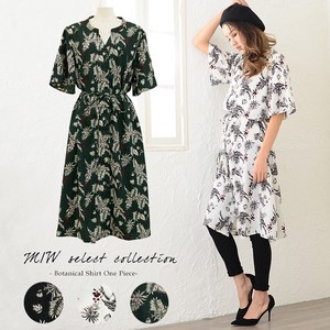 Botanical Shirt One-piece Dress Botanical Short Sleeve Cardigan One Piece