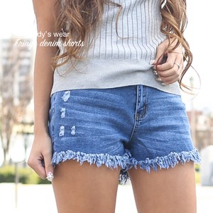 Fringe Denim Shor Pants