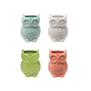 【Creative Co-Op Home】ウォールフラワーベース オウル,Stoneware Owl Shaped Vase