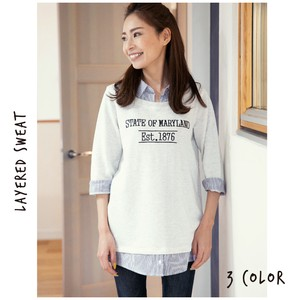 Sweatshirt Fleece Fake Layard Sweatshirt Three-Quarter Length Ladies