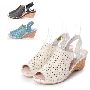 3 Colors Genuine Leather Mesh Design Blackstrap Cork Wedged Sandal Comfort