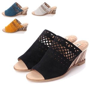 S/S 4 Colors Genuine Leather Cutting Design Wedged Sandal
