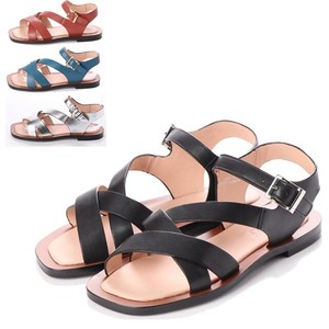 S/S 4 Colors Genuine Leather Ankle Strap Flat Sandal