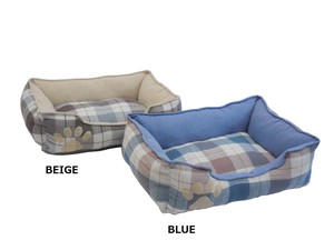 S/S Tartan Check Cotton Linen Pet Bed for Cat