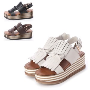S/S 3 Colors Genuine Leather Fringe Tassel Ribbon Bag Belt Sandal