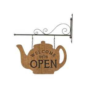 【SALE】【Creative Co-Op Home】ウッドサイン,Wood & Metal Open/Closed Sign