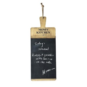 "【Creative Co-Op Home】メッセージボード,Wood Breadboard Shaped ""Mom's Kitchen"" Chalkboard"