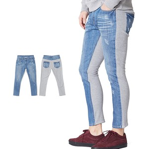 S/S Men's Fleece Sweat Switching Ankle Damage Denim Pants