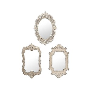 【Creative Co-Op Home】ミラー,Distressed Cream Resin Mirror 3 Styles