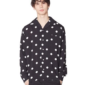 S/S Men's Dot Dot Repeating Pattern Long Sleeve Rayon Open Color Shirt