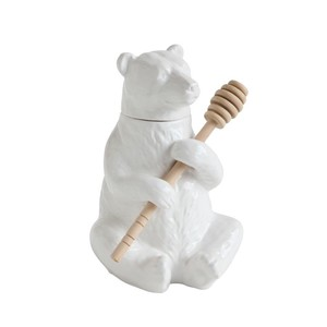 【Creative Co-Op Home】ハニーポット,Dolomite Bear Honey Pot w/ Bamboo Honey Dipper