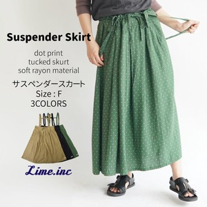 S/S Suspender Tuck Skirt Rayon Twill Print