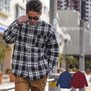 Checkered Shirt Men's Big Silhouette Shirt Long Sleeve Big Shirt Over Long