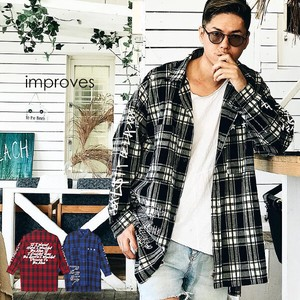 Checkered Shirt Men's Ladies Big Silhouette Shirt Long Sleeve Big Shirt Over Long