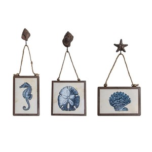 【SALE】【Creative Co-Op Home】ウォールフレームアート,Wall Decor w/ Sea Animals Image Indigo マリン