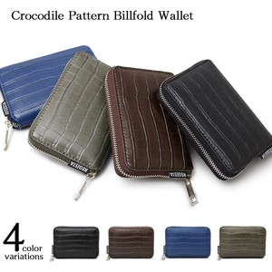 Round Fastener Mini Wallet Two Wallet Black