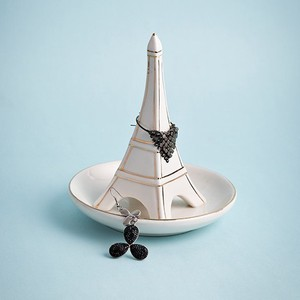 【Creative Co-Op Home】リングホルダー タワー,Porcelain Eiffel Tower Ring Holder w/ Gold Edge