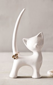 【Creative Co-Op Home】リングホルダー キャット,Porcelain Cat Ring Holder