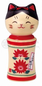 Happiness Ornament Interior Cat Kokeshi Chrysanthemum