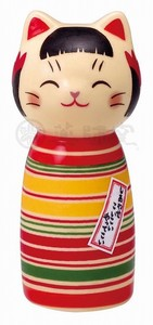 Happiness Ornament Interior Cat Kokeshi Black Pattern