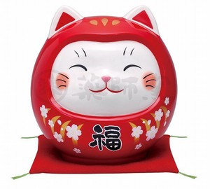 Happiness Ornament Interior Good Luck Cat Daruma Large Piggy Bank