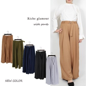 S/S Double Waist wide pants
