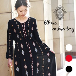 Quality Embroidery Long One-piece Dress
