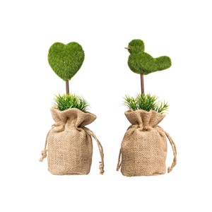 【Creative Co-Op Home】フェイクグリーン バッグ,Heart/Bird Faux Greenery 2 Styles