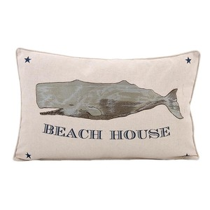 【Creative Co-Op Home】ピロー ホエール刺繍,Cotton & Linen Embroidered Whale Pillow マリン