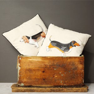 【SALE】【Creative Co-Op Home】ピロー ドッグ,Cotton & Linen Embroidered 2-Sided Dog Pillow 2 Styles